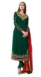 Lakshmi Fashion Creation Women's Georgette Dress Material ( Green )