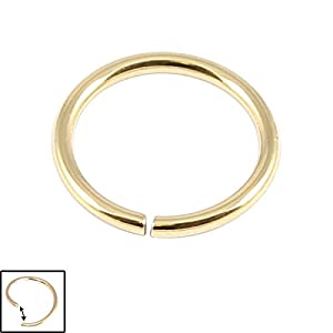 Zircon Steel Continuous Ring (Gold coloured PVD). Nose Ring. Ear Ring. 1.0mm gauge 8mm internal diameter. Tragus Jewellery. Carefully twist ends sideways to open and close.