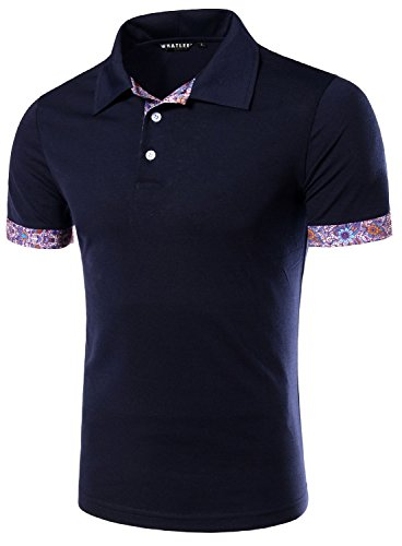 What Lees Mens Urban Casual Basic Short Sleeve Golf Polo Shirts Floral Paisley B006-BLUE-L (Varsity Jacket Hooded Light Blue compare prices)