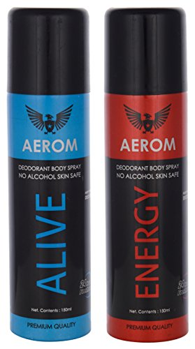 Aerom Alive And Energy Deodorant Body Spray, 300 Ml (Pack Of 2)