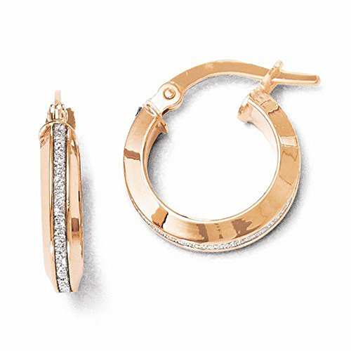 Leslie'S 14K Rose Gold High Polish Finish Glimmer Infused Hoop Earrings