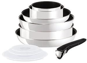 Tefal L4739702 Ingenio Batterie de Cuisine Set de 10 Pièces Aluminium Email Blanc