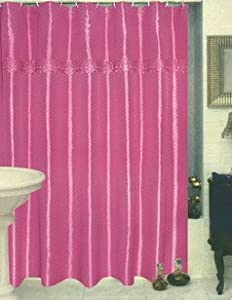 Jenny Raspberry Plum Fabric Shower Curtain Linen Curtains With Attached Valance