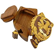 Tiger Head - Handmade Carved Wood Intarsia Puzzle Box