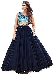 Latest Dark Blue Net Designer Gown by kreta fab tex