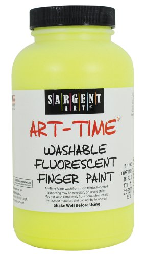 Sargent Art 22-9677 16-Ounce Art Time Washable Fluorescent Finger Paint, Chartreuse