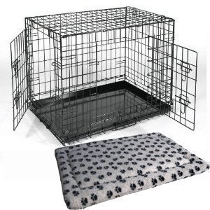 """XL Extra Large 42"""" Black Metal Dog Training Cage Carrier including Luxury Fitted Bedding"""