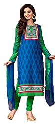 Vivacity Women's Cotton Unstitched Dress Material (Printed-08_Blue_Free Size)