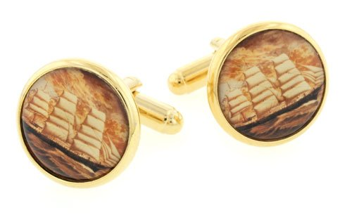JJ Weston yellow gold plated sailing ship image cufflinks with presentation box. Made in the U.S.A