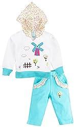 Snuggles Girls Hooded Jacket with Bottom - White/Aqua Blue (0-6M)