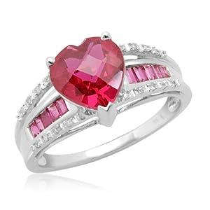 10k White Gold Heart-Shaped & Baguette Created Ruby w/ Diamonds Heart Ring