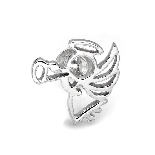 925 Sterling Silver Polished Finish Angel Single Stud Earring