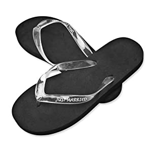 Mens Medium 9-10 Black Just Married Sandals