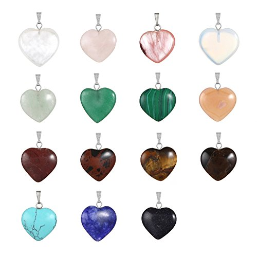 20pcs Heart Shape Healing Chakra Beads Crystal Quartz DIY Stone Random Color Gemstone Pendants for Necklace Earring Jewelry Making (Clear Quartz Crystal Earrings compare prices)