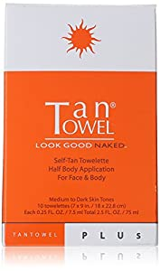 Tan Towel Half Body Towelettes, Plus, 0.29 lb.