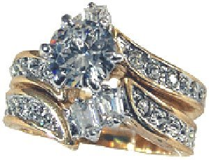 W-924 18kt Gold Electroplated 2 Piece Wedding Set Woman's Ring (Available in Sizes 5 to 10) Lifetime Guarantee