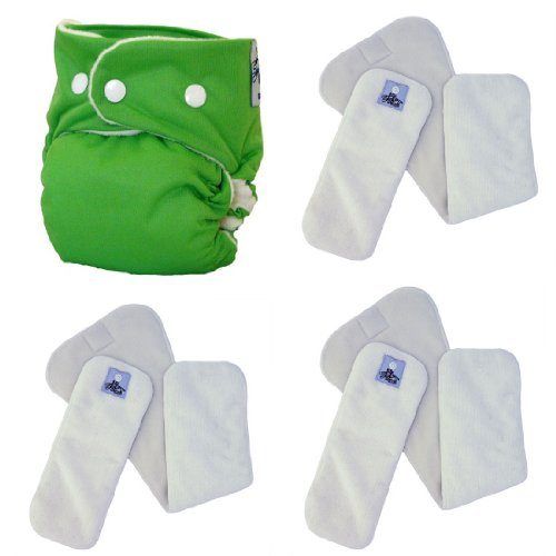 Softbums Echo Shell With Snaps Plus 3 Pack Pods (Choose Large Or Super - Bamboo Or Dry Touch) (Super Os Dry Touch (3 Pack), Sprout)