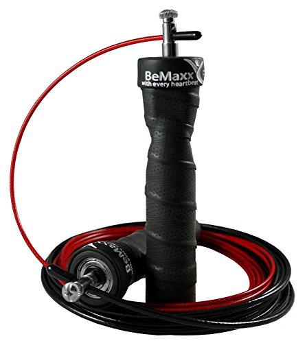 Corda per saltare veloce BeMaxx Fitness + Guida all'allenamento & Cavo di scorta - Speed Rope da salto professionale con 2 cavi d'acciaio regolabili & cuscinetto a sfere - Crossfit, Boxe (Black)