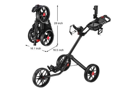 CaddyLite 15.3 Quad-Fold Golf Push Cart Black (Push Pull Golf Cart compare prices)