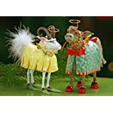 Patience Brewster Krinkles Donkey & Goat Ornaments