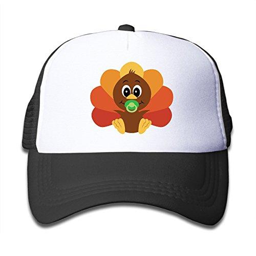 kids-thanksgiving-turkey-adjustable-snapback-trucker-hats-black-one-size