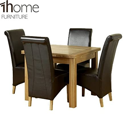 1home Solid Oak Extending Dining Table Set Room Furniture 90cm to 150cm (Table with 4 Chairs)