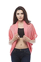 Open Cardigan with side layered (Small, Coral)