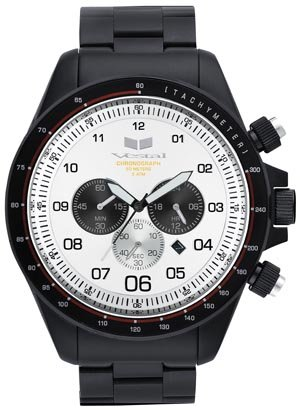 Vestal Men's ZR-3 Chronograph Black Ion-Plated White Dial Watch