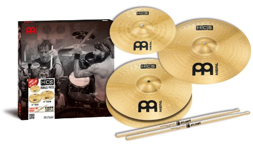 Meinl-HCS-Cymbal-Set-Up-includes-13-inch-Hihat-14-inch-Crash-Free-10-inch-Splash-and-One-Pair-of-Pro-Mark-5A-Sticks