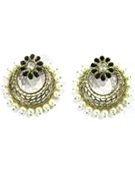 Deco Junction Ring-shaped Earring - Black Stones & Pearls