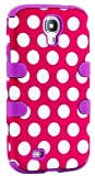 myLife (TM) Purple - Pink and White Polka Dots Design (3 Piece Hybrid) Hard and Soft Case for the Samsung Galaxy S4