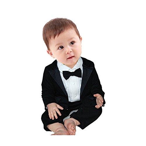 FEESHOW Baby Boy's 2Pcs Gentleman Wedding Formal Tuxedo Suit Romer Outfit Set Size 6-9 Months