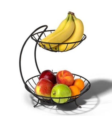Yumi 2 Tier Fruit Basket Color: Black
