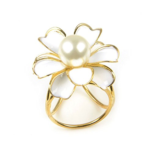 Pixnor Schal Ring Perle Blume Triple-Ring Schal Clip