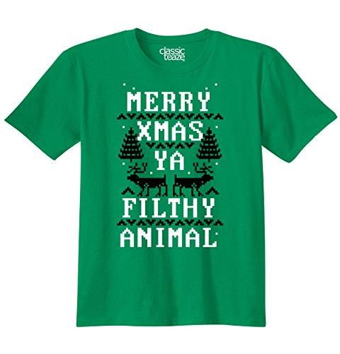 Christmas Merry Xmas Ya Filthy Animal Printed Adult T-Shirt