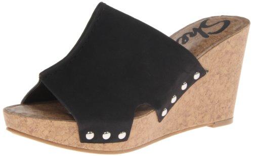 Skechers Women'S Flirty-Glimpse Wedge Sandal,Black,6 M Us front-1056986