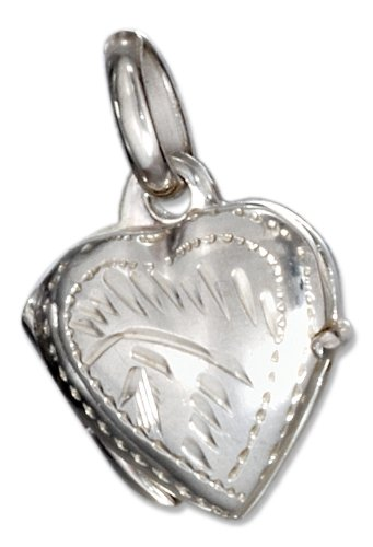 Sterling Silver Small High Polished Heart Locket with Etched Border