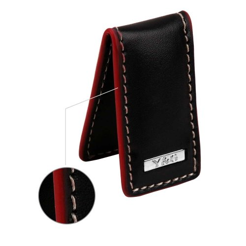 MC3015 Black Genuine Napa leather Slim Money Clip Groomsman Gift With Red Line By Y&amp;G