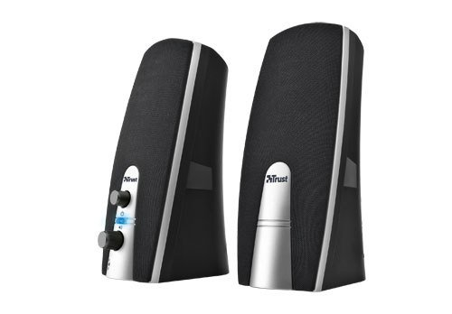 Trust MiLa 2.0 Lautsprecher, 5 Watt RMS, Kopfhöhreranschluss, schwarz / silber