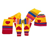 Kidorable Adorable Novelty Knit Hat, Scarf & Small Glove Set - Heart