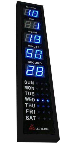 LEDカレンダークロック バーチカルタワー ブラック 部屋におけばクールなインテリアに ブルーLED採用! 18853