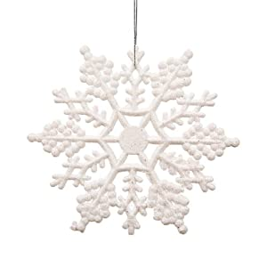 """Club Pack of 12 Winter White Glitter Snowflake Christmas Ornaments 8"""""""