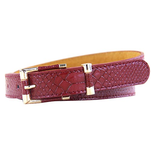 Froomer Womens Thin Skinny Skirt Belt Buckle Waistband Wine Red