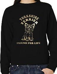 Yorkshire Terrier Dog Lover Sweatshirt Jumper In Gold Glitter Birthday Gift Small -XXL
