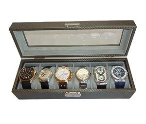 6 Pewter Carbon Fiber Pattern Men's Watch Box Display Case Jewelry Box Storage Organizer Glass Top