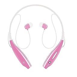 Sport Wireless Bluetooth Headphones, Upgrade Sweatproof Neckband Stereo Earphones  Earbuds-Pink