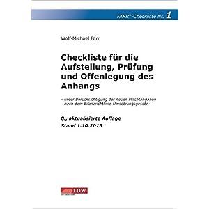 Checkliste 1 für die Aufstellung, Prüfung und Offenlegung des Anhangs: - unter Berücksi