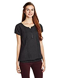 People Women's Body Blouse Top (P20402095894100_Black_Small)