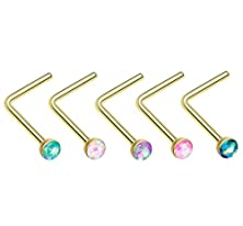 buy 316L, 20 Ga, 5 Pcs Of Golden Opal Sparkle L-Shaped Nose Ring Pack