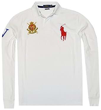 Polo Ralph Lauren Men Custom Fit Crest Big Pony Long Sleeve Polo Shirt (S, Oxford White)